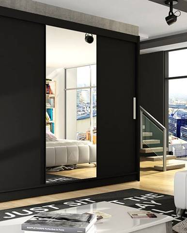 Šatní skříň ASTON I, černý mat/zrcadlo