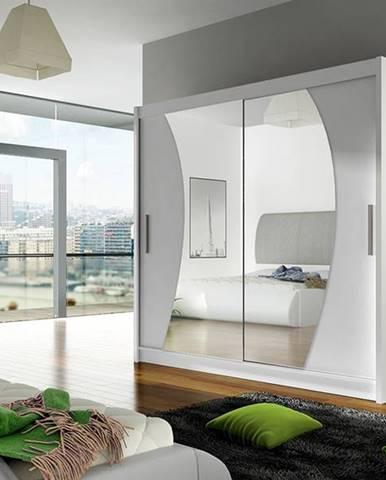 Šatní skříň BEGA IX, bílý mat/zrcadlo