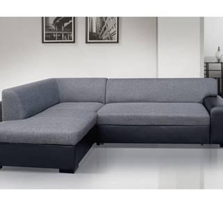 Rohová sedačka MINOS 3 levá, šedá látka/černá ekokůže