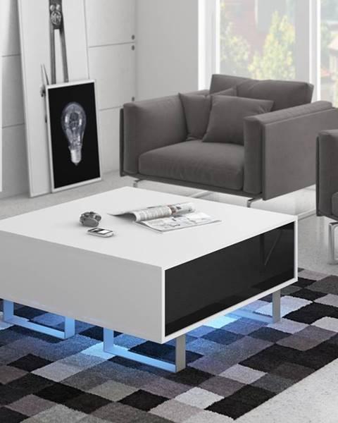MORAVIA FLAT KING 8 konferenční stolek, bílá/černý lesk