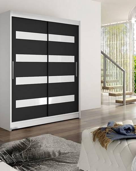Smartshop Šatní skříň WESTA IV, bílý mat/černý mat + bílé sklo