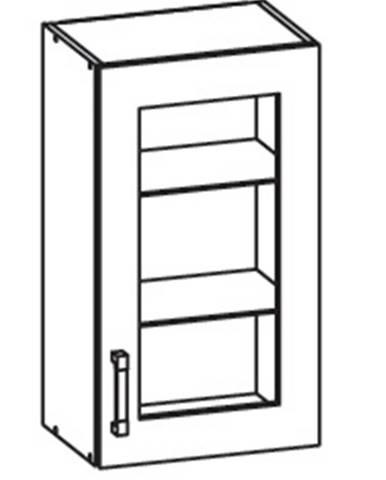 IRIS horní vitrína G40/72 pravá, korpus bílá alpská, dvířka ferro