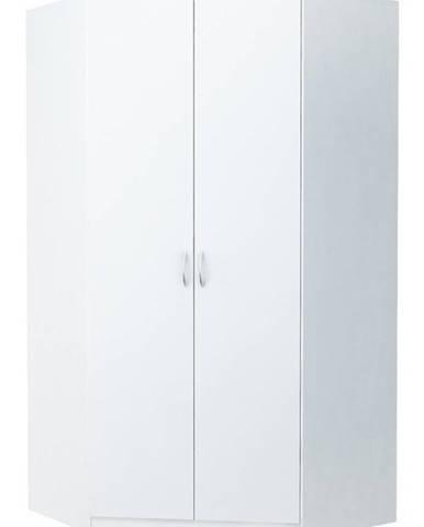 Rohová šatní skříň ALEX, bílá
