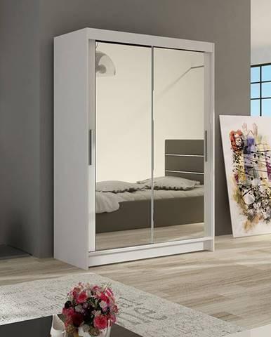 Šatní skříň MIAMII VII, bílý mat/zrcadlo