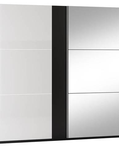 Šatní skříň TUNIS 250, černá/bílá lesk