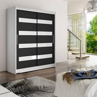 Šatní skříň WESTA IV, bílý mat/černý mat + bílé sklo