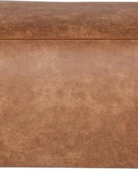 BePureHome Hnědý puf s potahem z recyklované kůže BePureHome Rodeo