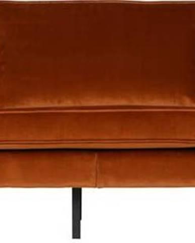 Oranžová sametová pohovka BePureHome Rodeo, 277 cm