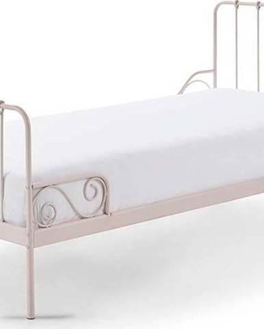 Růžová kovová dětská postel Vipack Alice, 90x200cm