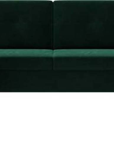 Tmavě zelená sametová rozkládací pohovka do