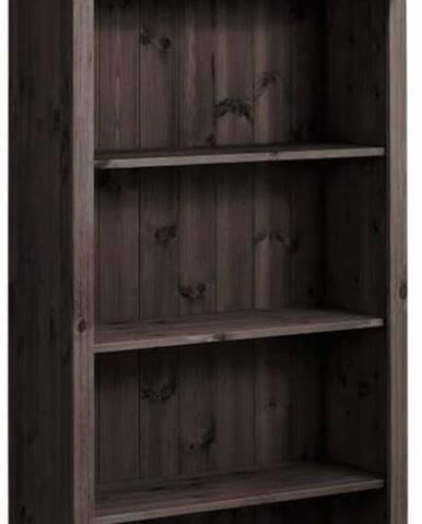 Tmavě hnědá knihovna z masivního borovicového dřeva Støraa Ella
