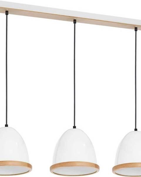 Homemania Bílé závěsné svítidlo s dřevěnými detaily Homemania Studio Tres