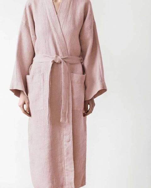 Linen Tales Unisex pudrově růžový župan z bavlny a lnu Linen Tales, vel. XL