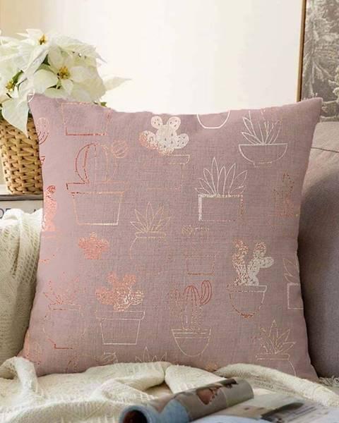 Minimalist Cushion Covers Růžový povlak na polštář s příměsí bavlny Minimalist Cushion Covers Succulent,55x55cm