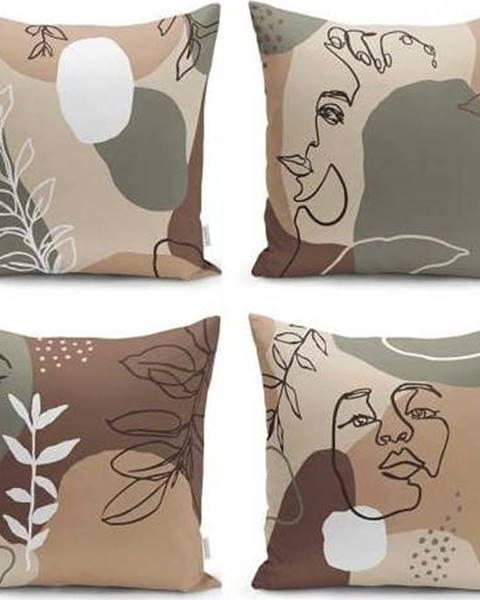Minimalist Cushion Covers Sada 4 povlaků na polštáře Minimalist Cushion Covers Drawing Face, 43 x 43 cm