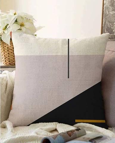 Růžovo-černý povlak na polštář s příměsí bavlny Minimalist Cushion Covers Abstract,55x55cm
