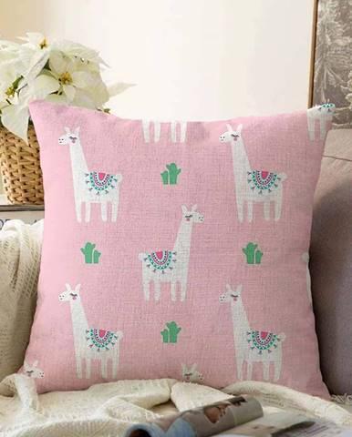 Růžový povlak na polštář s příměsí bavlny Minimalist Cushion Covers Alpaca,55x55cm