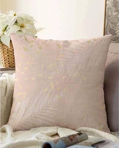 Světle růžový povlak na polštář s příměsí bavlny Minimalist Cushion Covers Leaves,55x55cm