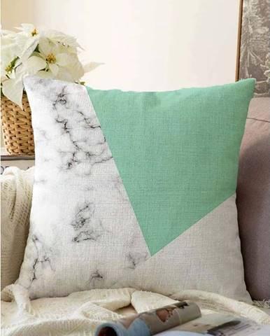 Zeleno-šedý povlak na polštář s příměsí bavlny Minimalist Cushion Covers Marble,55x55cm
