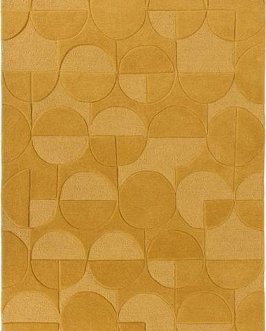 Žlutý vlněný koberec Flair Rugs Gigi, 160 x 230 cm