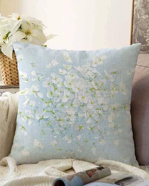 Minimalist Cushion Covers Modrý povlak na polštář s příměsí bavlny Minimalist Cushion Covers Blossom,55x55cm