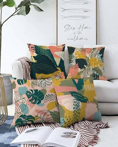 Sada 4 povlaků na polštáře Minimalist Cushion Covers Colorful Leaves,55 x 55 cm