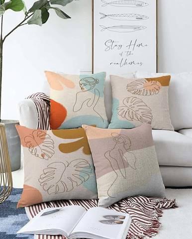 Sada 4 povlaků na polštáře Minimalist Cushion Covers Feminine,55 x 55 cm