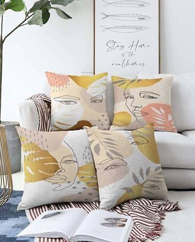 Sada 4 povlaků na polštáře Minimalist Cushion Covers June,55 x 55 cm