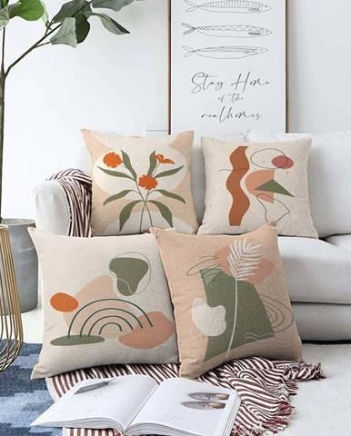 Sada 4 povlaků na polštáře Minimalist Cushion Covers Rainbow,55 x 55 cm