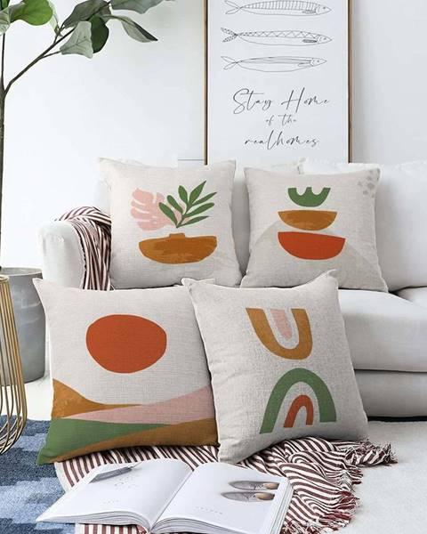 Minimalist Cushion Covers Sada 4 povlaků na polštáře Minimalist Cushion Covers Succulent,55 x 55 cm