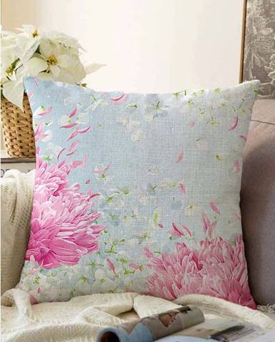 Modrý povlak na polštář s příměsí bavlny Minimalist Cushion Covers Wind,55x55cm