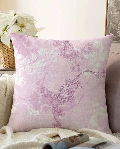 Růžový povlak na polštář s příměsí bavlny Minimalist Cushion Covers Bloom,55x55cm