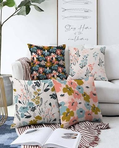 Sada 4 povlaků na polštáře Minimalist Cushion Covers Blooming,55 x 55 cm