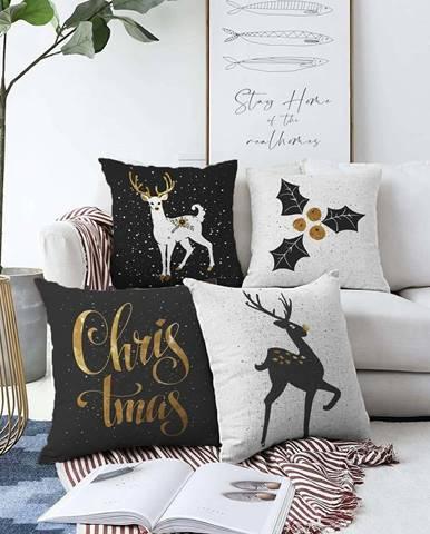 Sada 4 povlaků na polštáře Minimalist Cushion Covers Christmas,55 x 55 cm