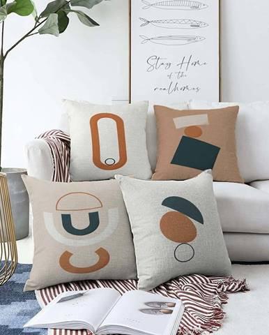 Sada 4 povlaků na polštáře Minimalist Cushion Covers Luka,55 x 55 cm