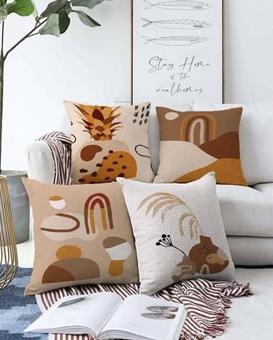 Sada 4 povlaků na polštáře Minimalist Cushion Covers Pampas,55 x 55 cm