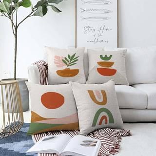 Sada 4 povlaků na polštáře Minimalist Cushion Covers Succulent,55 x 55 cm