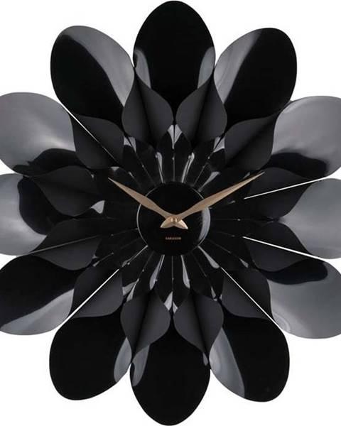 Karlsson Černé nástěnné hodiny Karlsson Flower, ø 60 cm