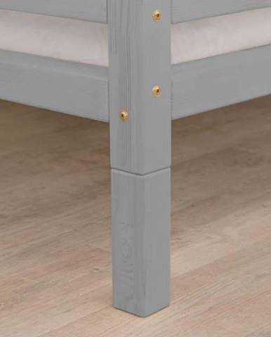 Sada 4 šedých prodloužených dřevěných nohou k posteli Benlemi,výška10cm