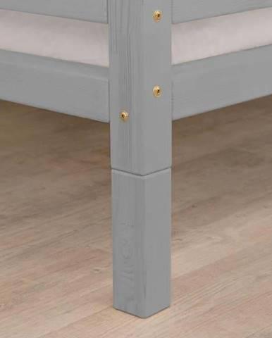 Sada 4 šedých prodloužených dřevěných nohou k posteli Benlemi,výška20cm