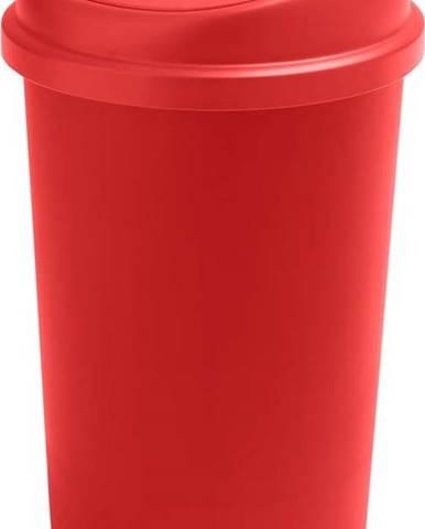 Červený odpadkový koš s vycvakávacím víkem Addis, výška 64,5 cm