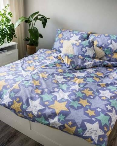 Fialové bavlněné povlečení Cotton House Stars, 140 x 200 cm