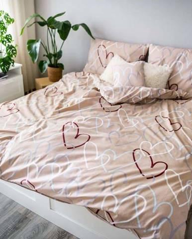 Béžové bavlněné povlečení Cotton House Dita Love,140x200cm