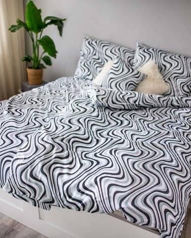 Černo-bílé povlečení z bavlněného saténu Cotton House Waves, 140 x 200 cm