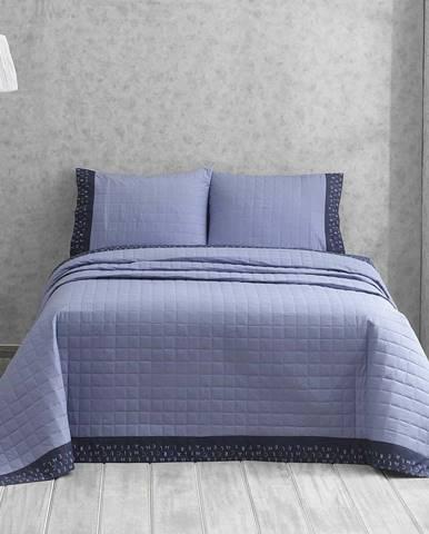 Modrý přehoz na dvoulůžko s povlaky na polštáře Jolly, 240x250 cm