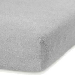 Světle šedé elastické prostěradlo s vysokým podílem bavlny AmeliaHome Ruby, 140/160 x 200 cm