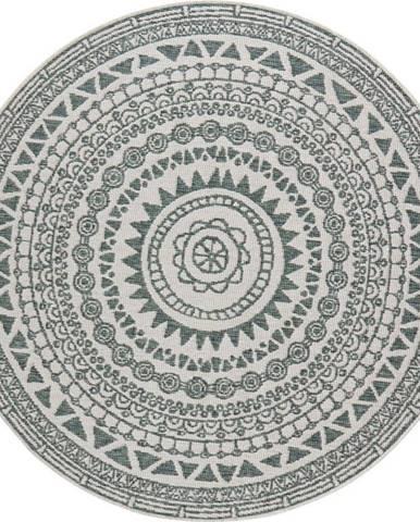 Zeleno-krémový venkovní koberec Bougari Coron, ø 140 cm