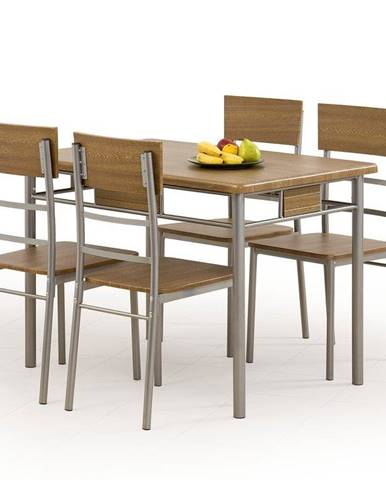 Halmar Jídelní sestava Natan, stůl + 4 židle, ořech