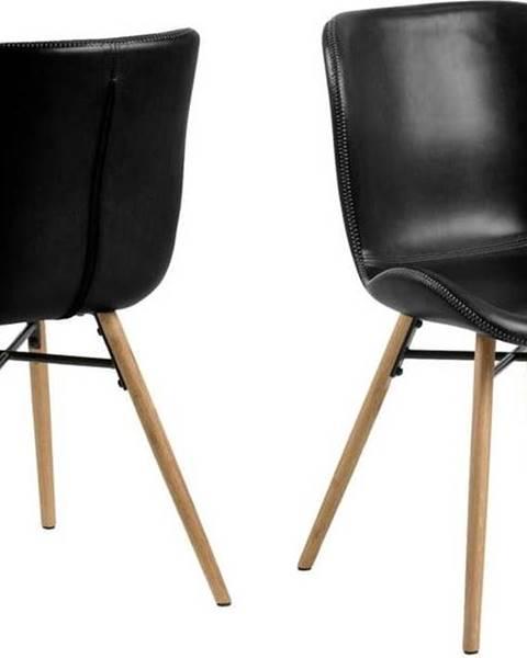Actona Černá jídelní židle s podnožím z dubového dřeva Actona Batilda
