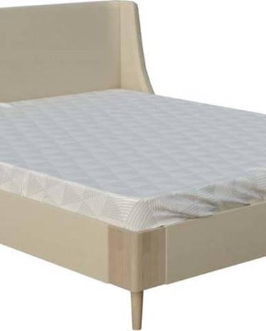 Béžová dvoulůžková postel ProSpánek Sara, 160 x 200 cm